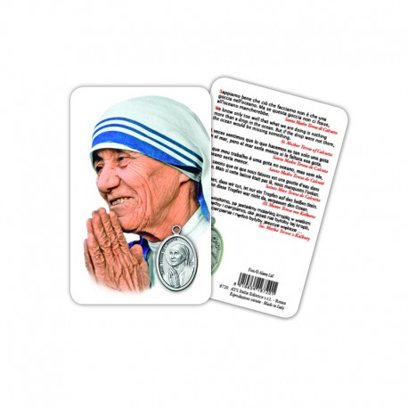 St. Teresa of Calcutta - Plasticized religious card with medal