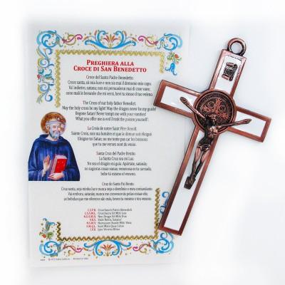 San Benedetto - Croce smaltata con pergamena
