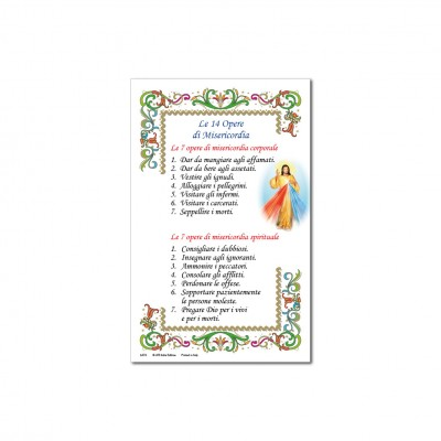 The 14 Works of Mercy - Holy picture on parchment paper