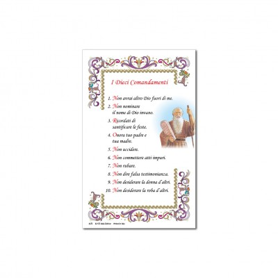 The Ten Commandments - Holy picture on parchment paper