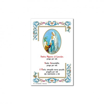 Our Lady of Lourdes - Holy picture on parchment paper