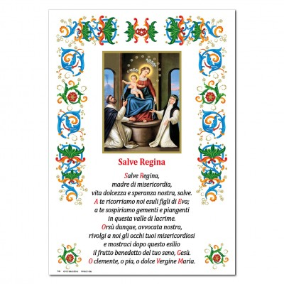 Madonna del Rosario - Immagine sacra su carta pergamena