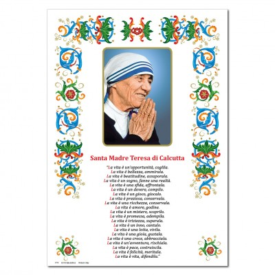 St. Teresa of Calcutta -  Holy picture on parchment paper