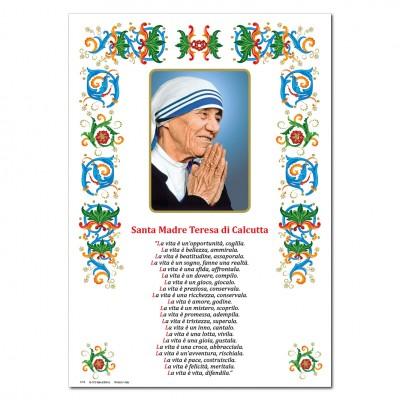 Santa Teresa di Calcutta - Immagine sacra su carta pergamena