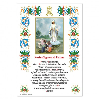 Nostra Signora di Fatima - Immagine sacra su carta pergamena