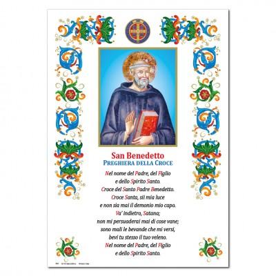 Saint Benedict - Holy picture on parchment paper