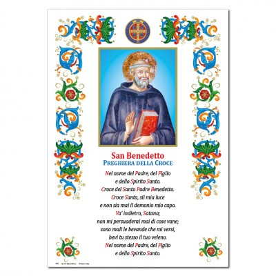 St. Benedict - Holy picture on parchment paper