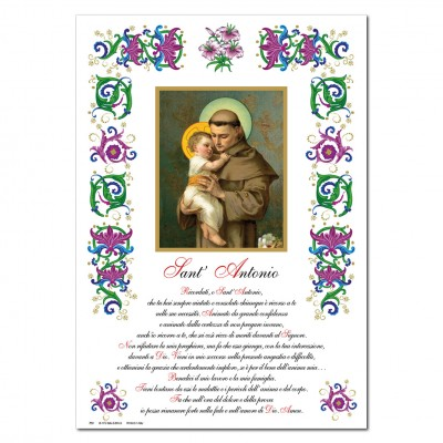 St. Anthony - Holy picture on parchment paper
