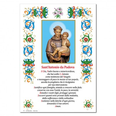 Sant' Antonio - Immagine sacra su carta pergamena
