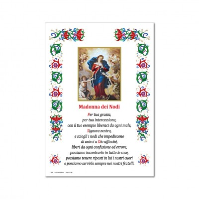 Mary Untier of Knots - Holy picture on parchment paper