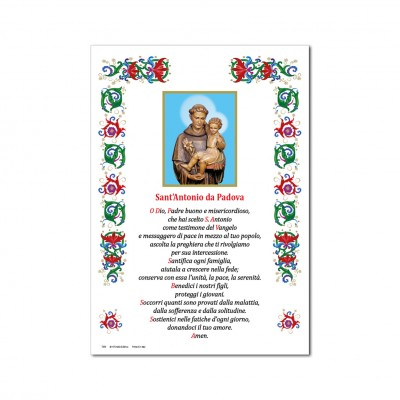 Sant' Antonio da Padova - Immagine sacra su carta pergamena