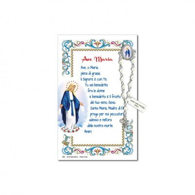 Miraculous Madonna - Holy picture on parchment paper with decade rosary pin