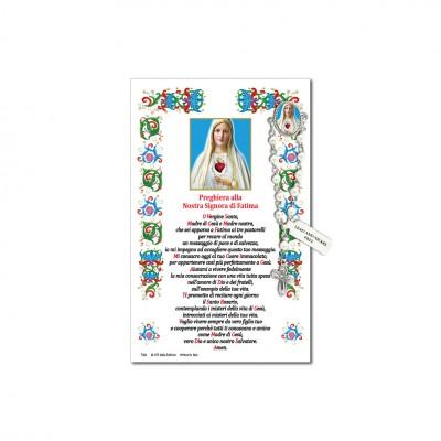 Madonna di Fatima - Immagine sacra su carta pergamena con spilletta decina rosario
