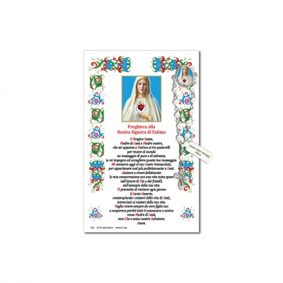 Our Lady of Fatima - Holy picture on parchment paper with decade rosary pin