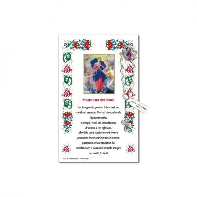Madonna dei Nodi - Immagine sacra su carta pergamena con spilletta decina rosario