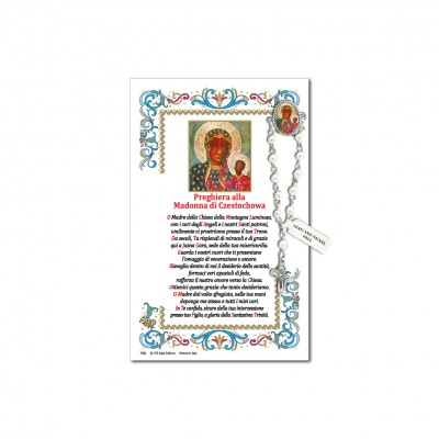 Our Lady of Czestochowa - Holy picture on parchment paper with decade rosary pin