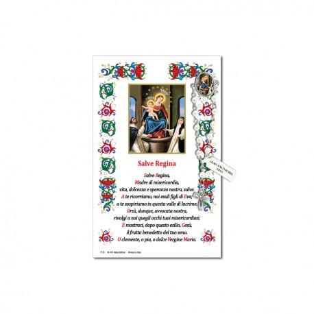 Madonna del Rosario - Immagine sacra su carta pergamena con spilletta decina rosario