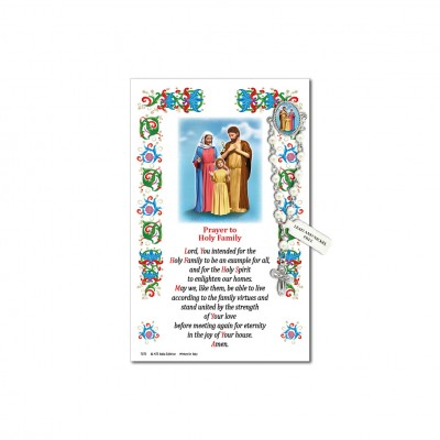 Sacra Famiglia - Immagine sacra su carta pergamena con spilletta decina rosario