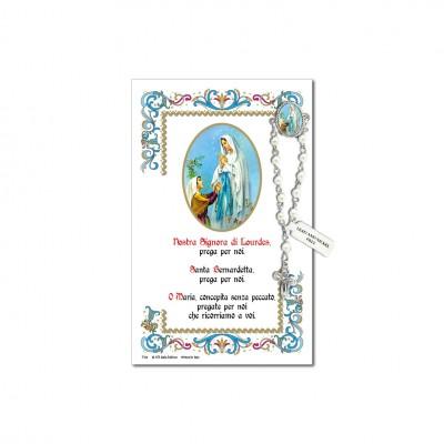 Madonna di Lourdes - Immagine sacra su carta pergamena con spilletta decina rosario