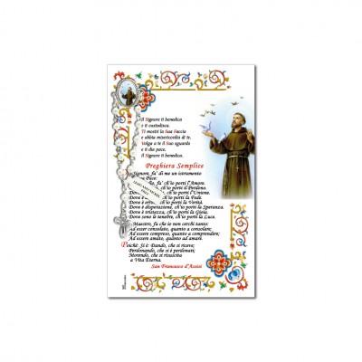San Francesco di Assisi - Immagine sacra su carta pergamena con spilletta decina rosario