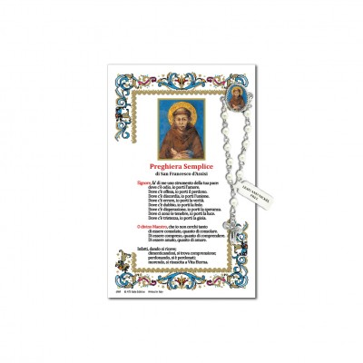 Saint Francis of Assisi - Holy picture on parchment paper with decade rosary pin