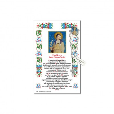 Saint Clare of Assisi - Holy picture on parchment paper with decade rosary pin