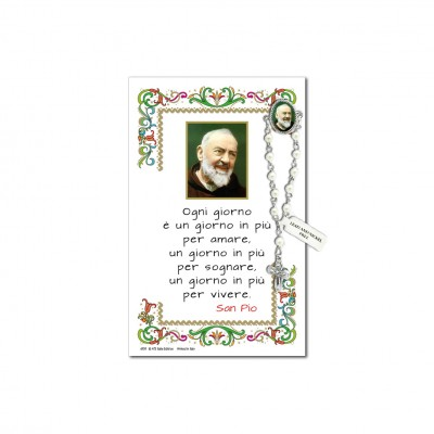 Saint Pio of Pietrelcina - Holy picture on parchment paper with decade rosary pin
