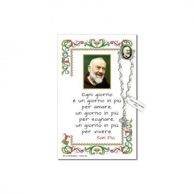 San Pio da Pietrelcina - Immagine sacra su carta pergamena con spilletta decina rosario