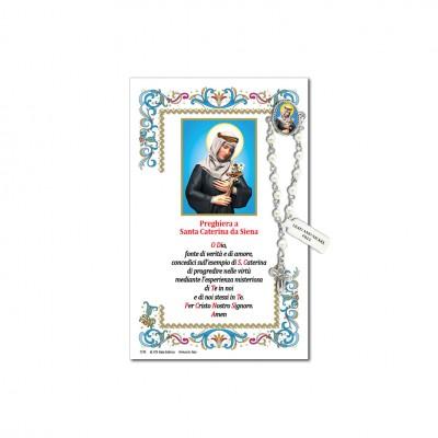 San Caterina da Siena - Immagine sacra su carta pergamena con spilletta decina rosario