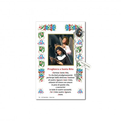 Saint Rita - Holy picture on parchment paper with decade rosary pin