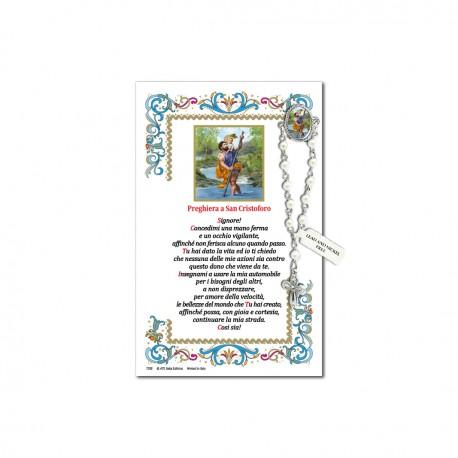 San Cristoforo - Immagine sacra su carta pergamena con spilletta decina rosario
