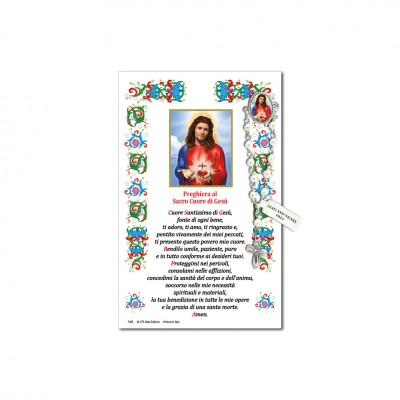 Sacred Heart of Jesus - Holy picture on parchment paper with decade rosary pin