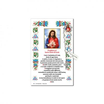 Sacro Cuore di Gesù - Immagine sacra su carta pergamena con spilletta decina rosario