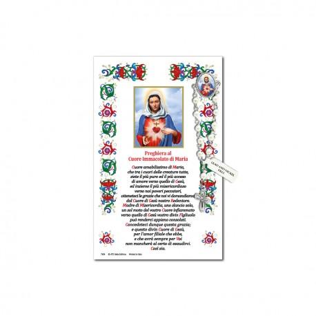Sacro Cuore di Maria - Immagine sacra su carta pergamena con spilletta decina rosario
