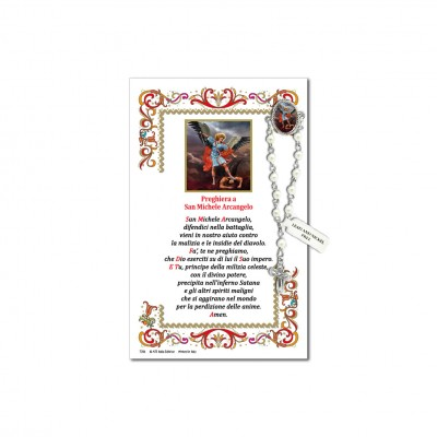 Saint Michael Archangel - Holy picture on parchment paper with decade rosary pin