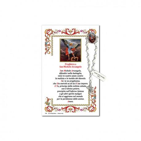 San Michele Arcangelo - Immagine sacra su carta pergamena con spilletta decina rosario