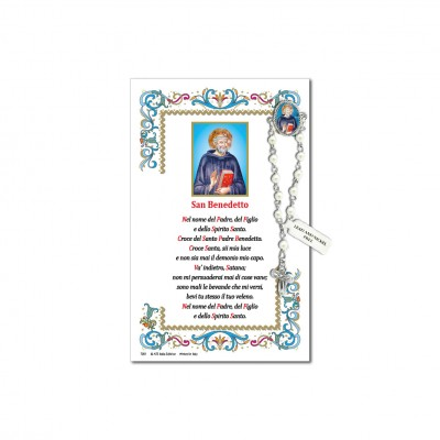 Saint Benedict - Holy picture on parchment paper with decade rosary pin