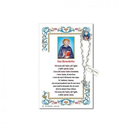 San Benedetto - Immagine sacra su carta pergamena con spilletta decina rosario