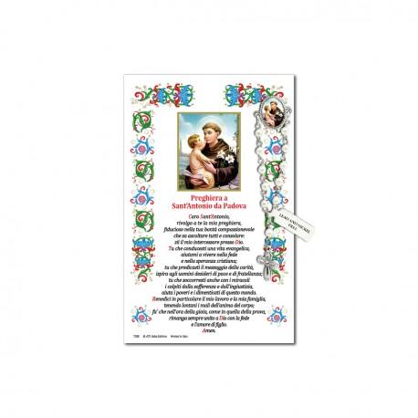 San Antonio da Padova - Immagine sacra su carta pergamena con spilletta decina rosario