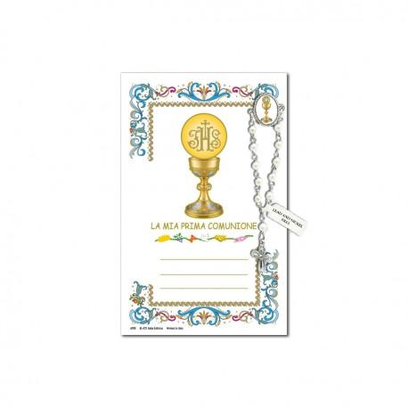 Prima Comunione - Immagine sacra su carta pergamena con spilletta decina rosario