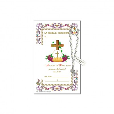 First Communion - Holy picture on parchment paper with decade rosary pin