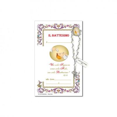 Battesimo - Immagine sacra su carta pergamena con spilletta decina rosario