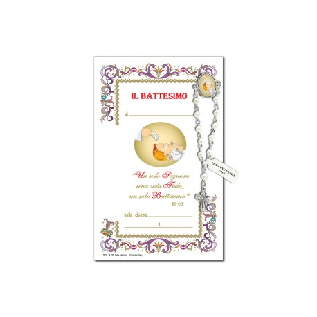 Baptism - Holy picture on parchment paper with decade rosary pin