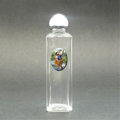 St. Christopher - Holy water bottle with sacred picture