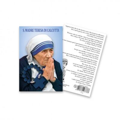 """Immaginetta """"Santa Teresa di Calcutta"""" con decina Rosario in legno"""