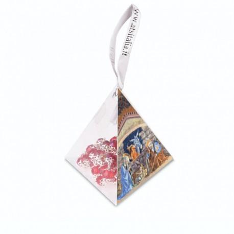 """Piramide in PVC portarosario """"Natività 3"""" con Rosario in cristallo"""