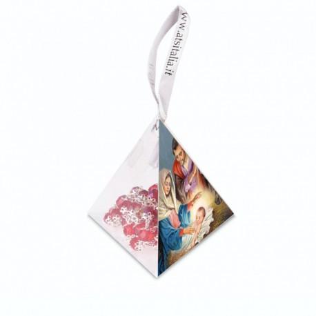 """Piramide in PVC portarosario """"Natività 4"""" con Rosario in cristallo"""