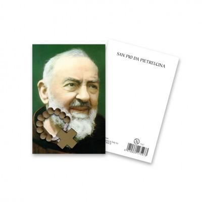 """Immaginetta """"San Pio"""" con decina Rosario in legno"""