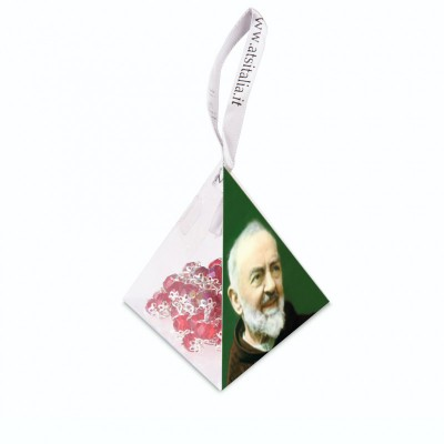 "Piramide in PVC portarosario ""San Pio"" con Rosario in cristallo"