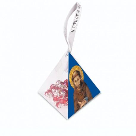 """Piramide in PVC portarosario """"San Francesco"""" con Rosario in cristallo"""